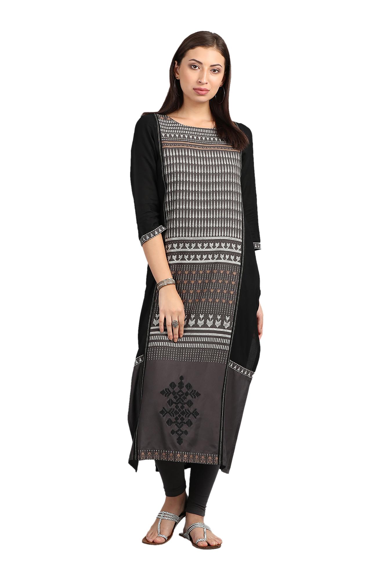 7019903a7a9 Buy W Grey Round Neck Printed Kurta for Women Online   Tata CLiQ