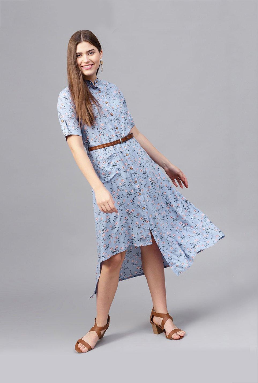 Buy Athena Blue Floral Print Below Knee Shirt Dress For Women Online