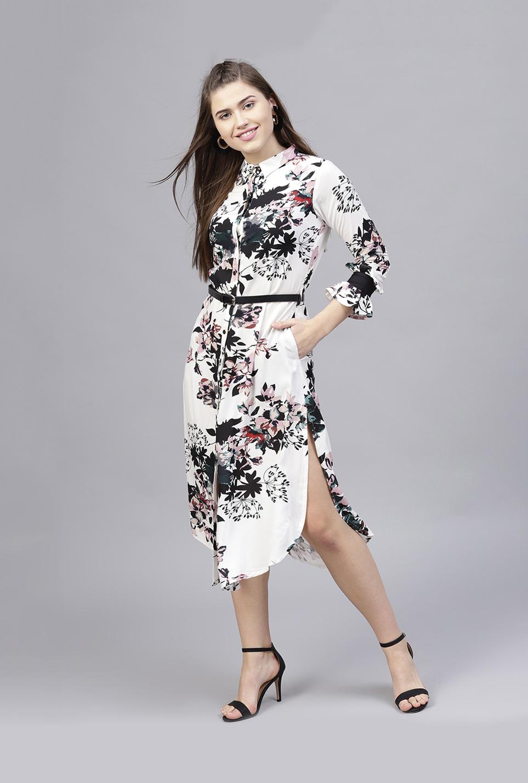 Buy Athena White Black Floral Print Below Knee Shirt Dress For