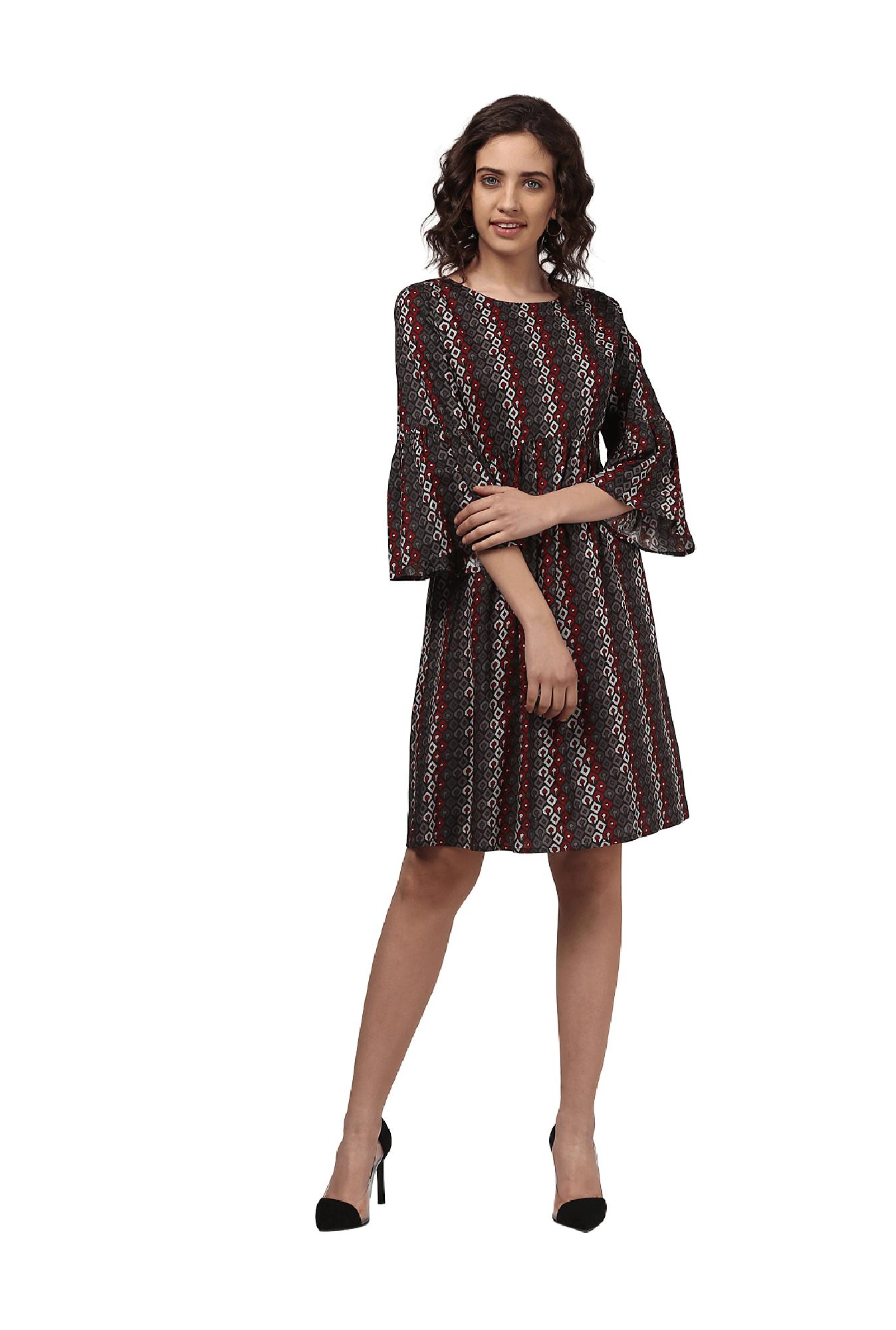 49ade4603917 Buy Harpa Brown Printed Knee Length Dress for Women Online ...