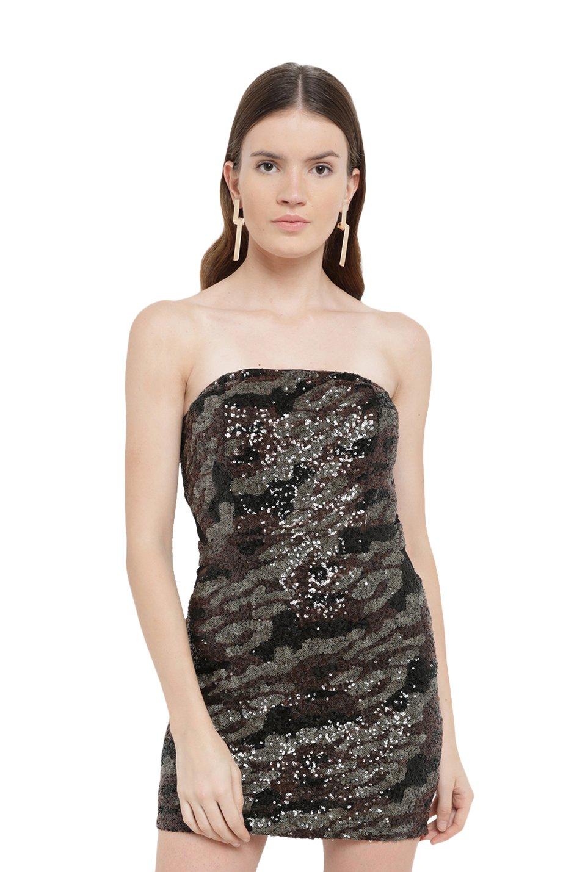 c0d705b9d1c5 Buy Kazo Black Embellished Tube Dress for Women Online @ Tata CLiQ