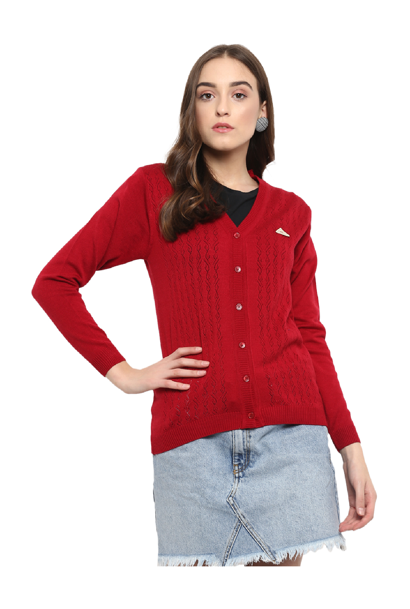 22527fe44821 Buy Monte Carlo Red Full Sleeves Cardigan for Women Online ...