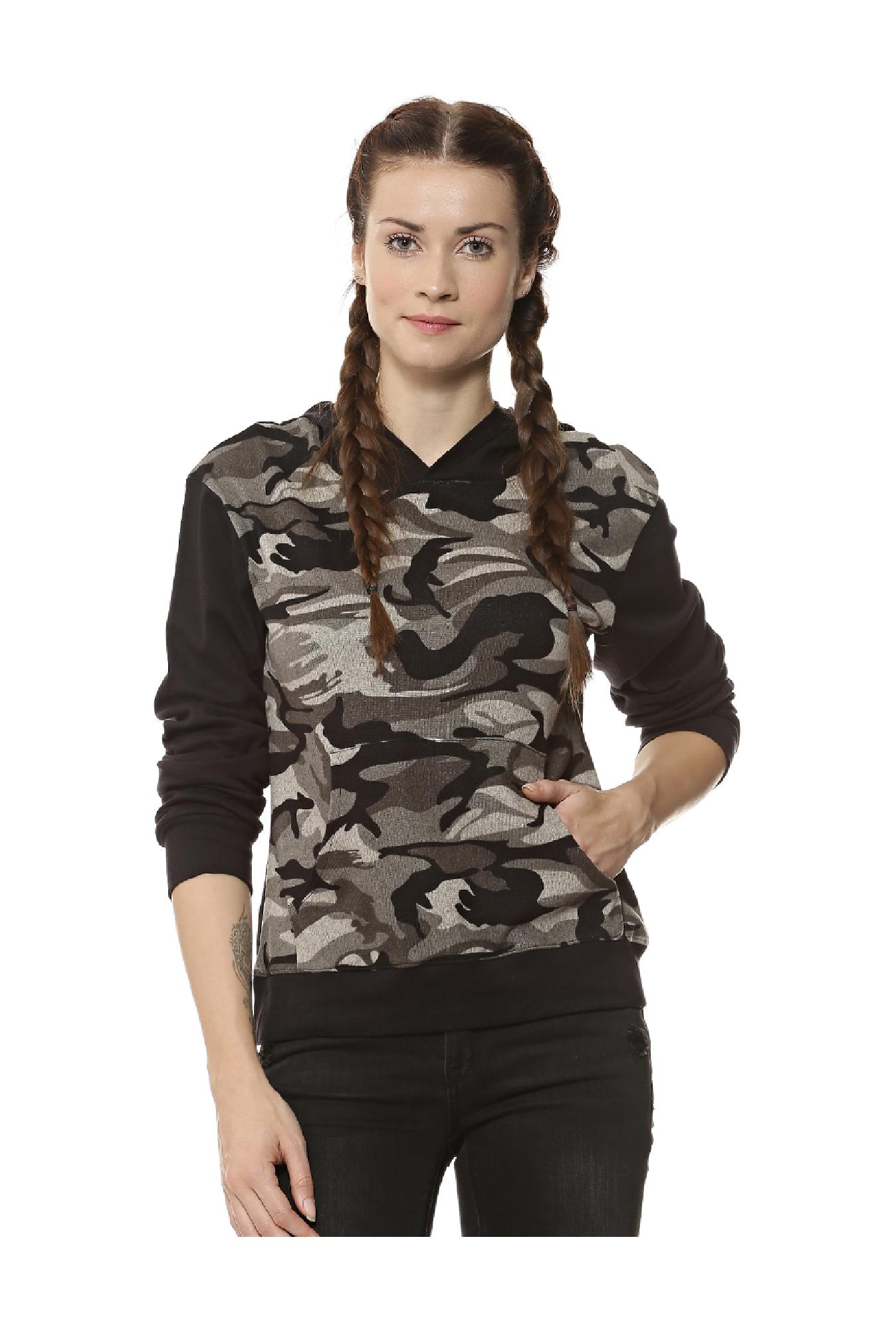 c98280248fac5 Buy Campus Sutra Beige & Black Camo Print Hoodie for Women Online ...