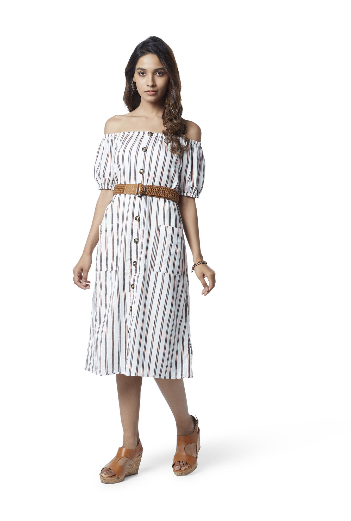 0a75732385 Buy LOV by Westside White Striped Off-Shoulder Dress With Belt for Women  Online   Tata CLiQ