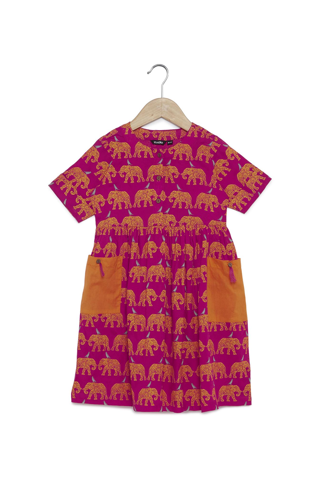 2f91eada7535 Buy Zudio Kids Fuchsia Animal Print Dress for Girls Clothing Online ...
