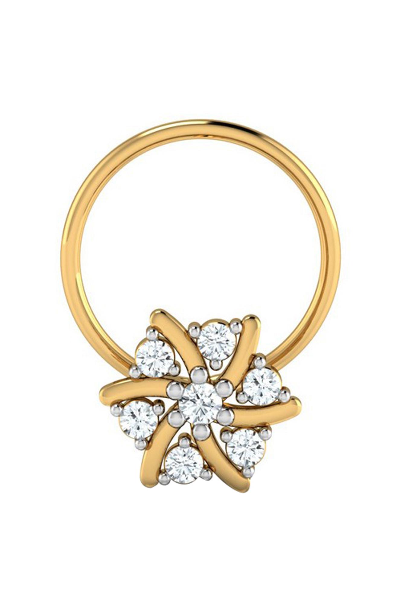 Buy Sri Jagdamba Pearls Gargi 18 Kt Gold Diamond Nosepin Online At Best Price Tata Cliq
