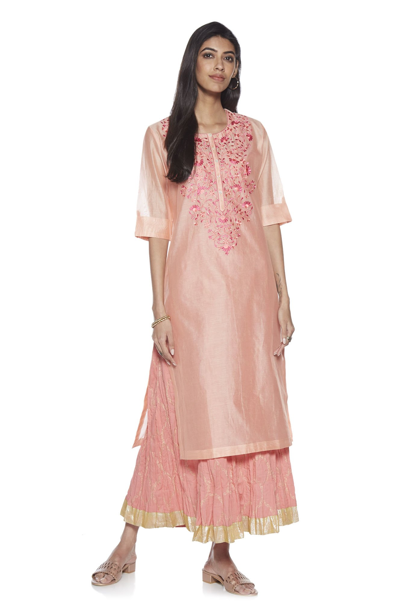 f2142e0d68 Buy Vark by Westside Peach Embroidered Kurta With Maxi Dress Set for Women  Online @ Tata CLiQ