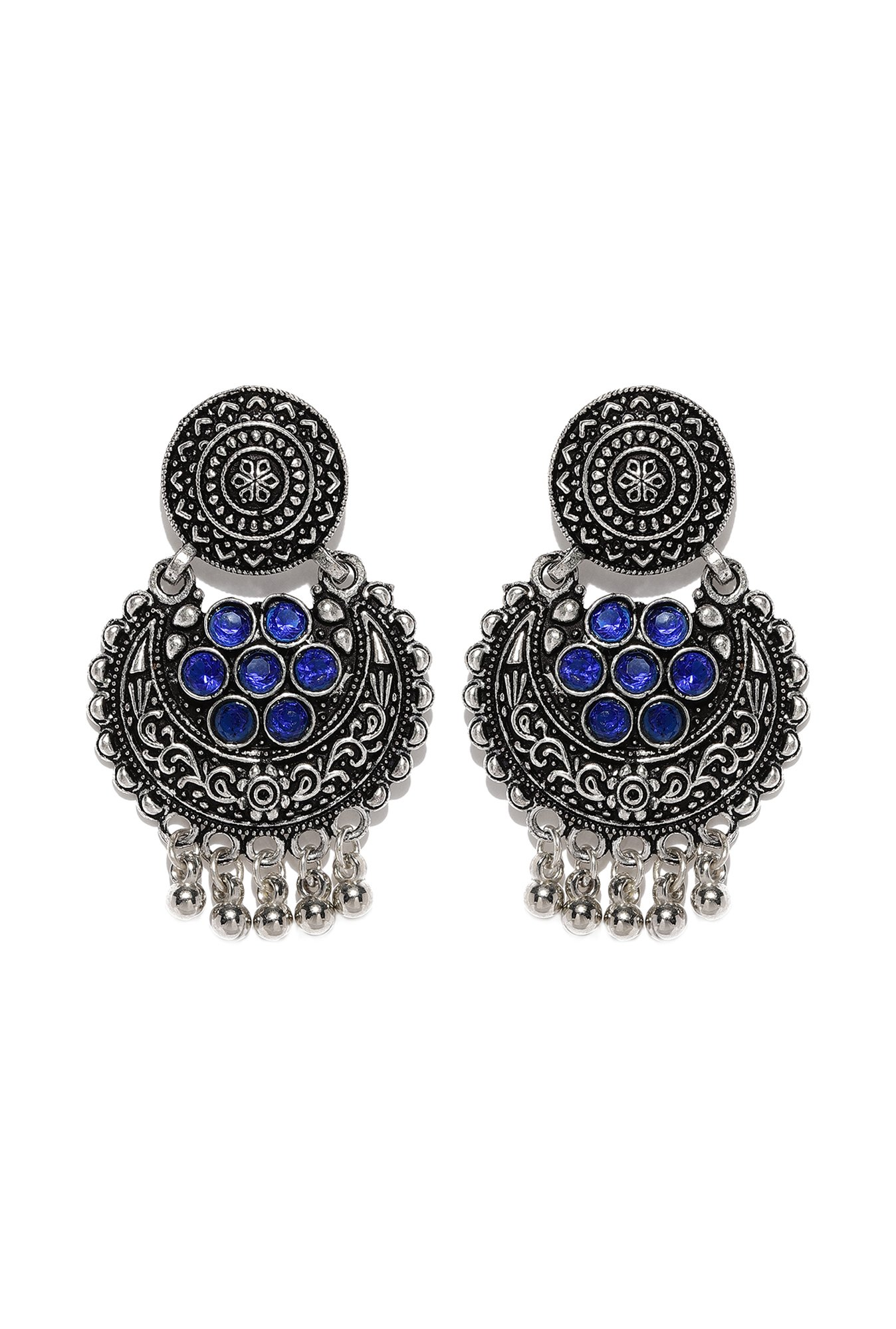 abbda7f98 Buy Ayesha Blue & Silver Chand Bali Earrings Online At Best Price ...