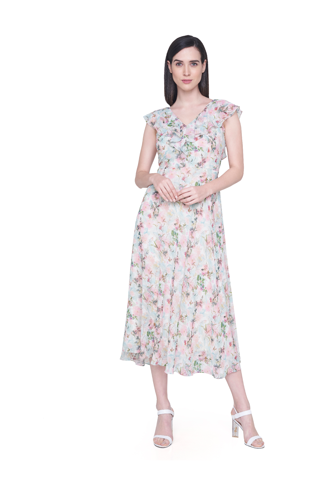 663cc476bc41 Buy AND Green   Pink Floral Print Below Knee Dress for Women ...