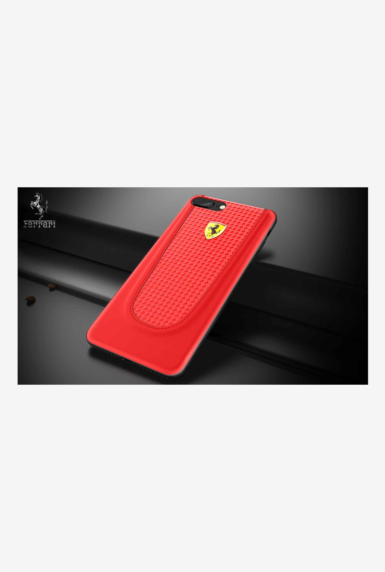 separation shoes 222b1 3f593 Buy Ferrari Leather Back Cover For iPhone 7 Plus Online At Best Price @  Tata CLiQ