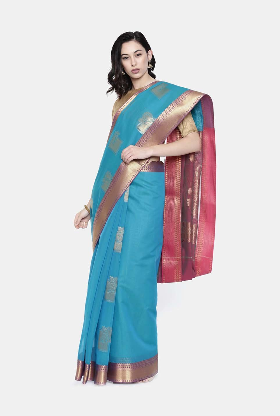 9e23647613345a Buy The Chennai Silks Sky Blue Woven Pattern Saree With Blouse for ...