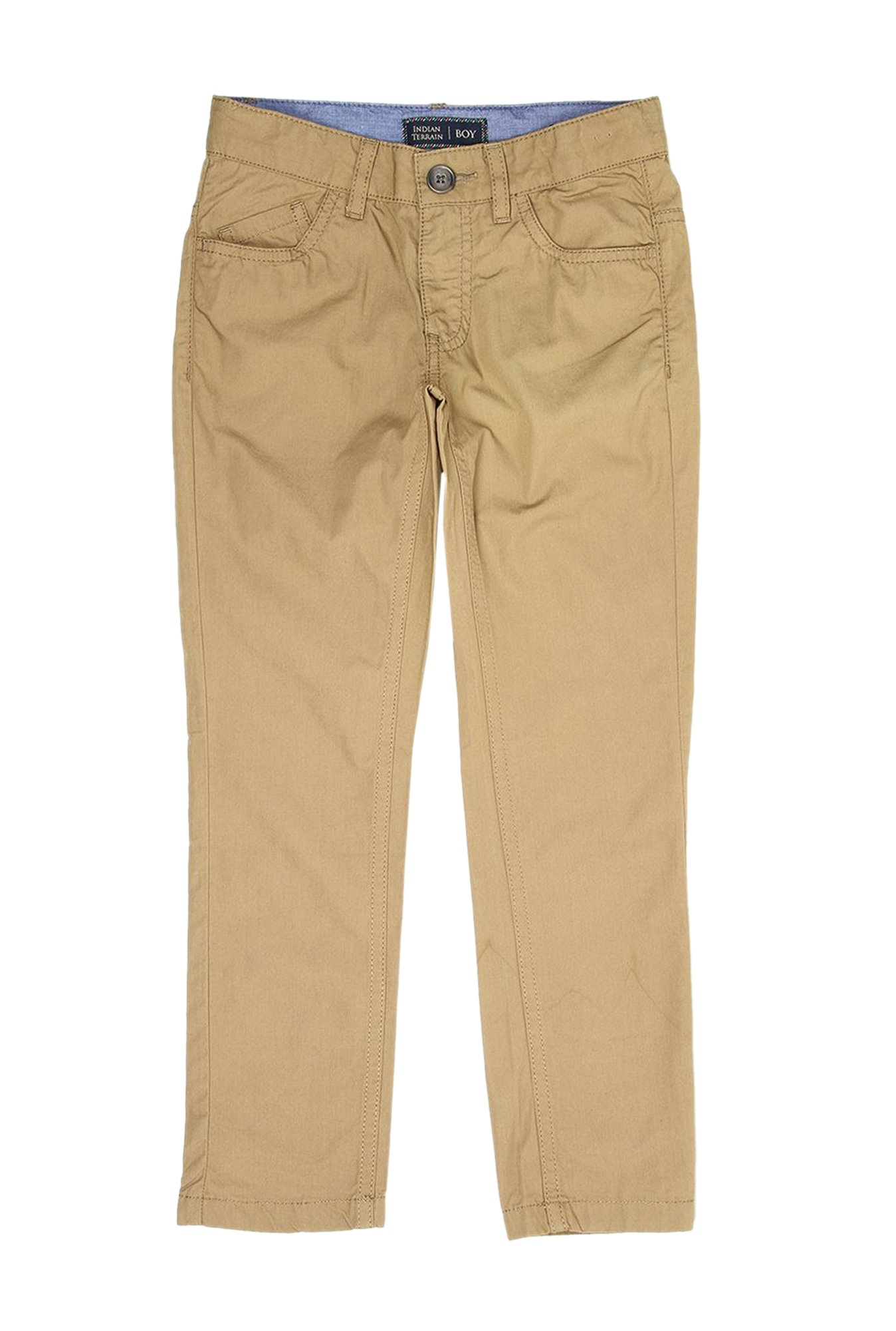 00005cebfc Buy Indian Terrain Kids Khaki Solid Trousers for Boys Clothing Online @  Tata CLiQ