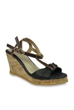 Inc.5 Dark Brown & Black Ankle Strap Wedges