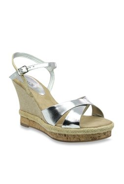 Inc.5 Silver Ankle Strap Espadrilles Wedges