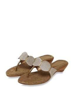 49e3f4f2df0bcb Mochi Antique Gold Wedge Sandals