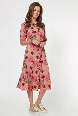 Bombay Paisley By Westside Light Pink Dress With Belt