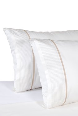 AnnaSimona Nano White Pleated Cotton Double Bed Sheet Set