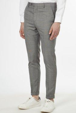 Weststreet By Westside Light Grey Slim Fit Trousers