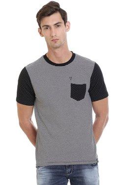 Vudu Black Round Neck Slim Fit Cotton T-Shirt