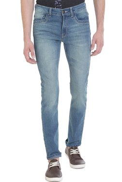 Vudu Blue Lightly Washed Mid Rise Cotton Jeans