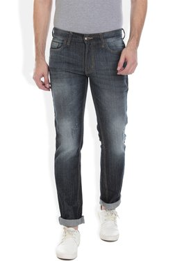 Vudu Black Heavily Washed Distressed Cotton Jeans
