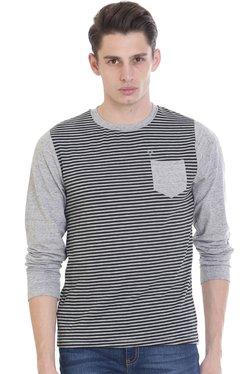 Vudu Grey & Black Round Neck Cotton T-Shirt