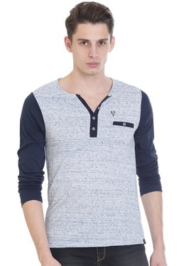 Vudu White & Blue Slim Fit Henley T-Shirt