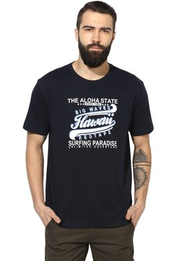 Red Tape Navy Printed Cotton T-Shirt
