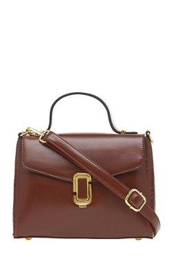 Esbeda Brown Solid Satchel Bag