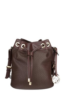 Satya Paul Dark Brown Textured Leather Bucket Sling Bag