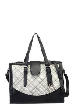 Satya Paul Off-White & Black Stitched Leather Shoulder Bag