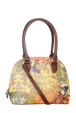 Satya Paul Yellow & Purple Printed Leather Shoulder Bag