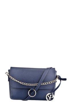 Satya Paul Navy Solid Leather Flap Sling Bag