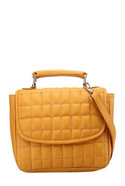 Satya Paul Mustard Yellow Riveted Leather Flap Sling Bag