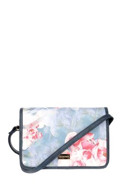 Satya Paul Blue & Pink Printed Leather Flap Sling Bag