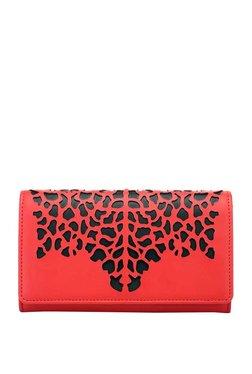 Satya Paul Red & Black Cut Work Tri-Fold Wallet