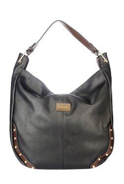 Satya Paul Black Solid Hobo Bag