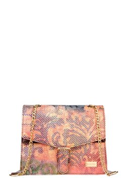 Satya Paul Orange & Blue Printed Leather Flap Sling Bag