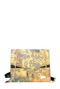 Satya Paul Yellow & Purple Printed Leather Flap Sling Bag