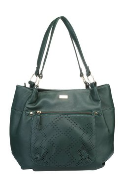 Satya Paul Green Cut Work Leather Shoulder Bag