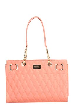 Satya Paul Peach Leather Quilted Shoulder Bag