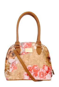 Satya Paul Beige & Pink Printed Leather Shoulder Bag