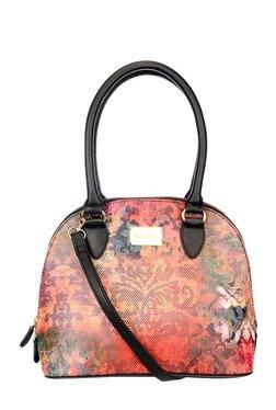 Satya Paul Orange & Blue Printed Leather Shoulder Bag