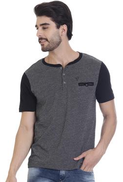 Vudu Navy Slim Fit Henley T-Shirt