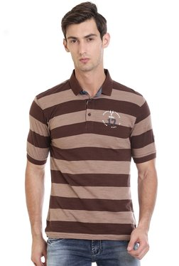 Vudu Brown Striped Polo T-Shirt