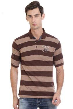 Vudu Brown Striped Polo T-Shirt