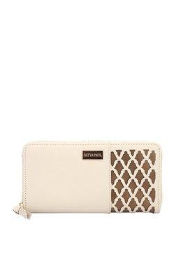 Satya Paul Cream & Brown Cut Work Fabric Wallet