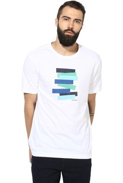 Red Tape White Cotton Printed T-Shirt