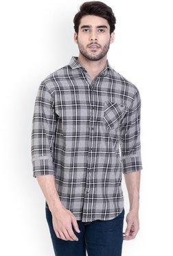 ROCX White & Navy Slim Fit Cotton Checks Shirt