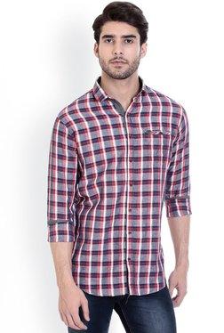ROCX Grey & Red Cotton Checks Full Sleeves Slim Fit Shirt